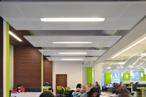 metal ceiling rafts for acoustics in buildings