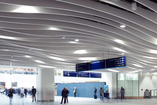 acoustic baffle ceiling made from metal